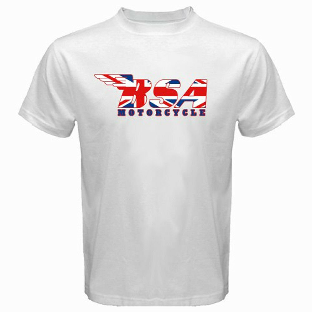 New BSA MOTORCYCLE Classic Logo Union Jack Men's White T-Shirt Size S-2XL