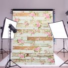 5x7FT Vintage Pink Flowers Wooden Floor Wall Photo Studio Background Backdrop