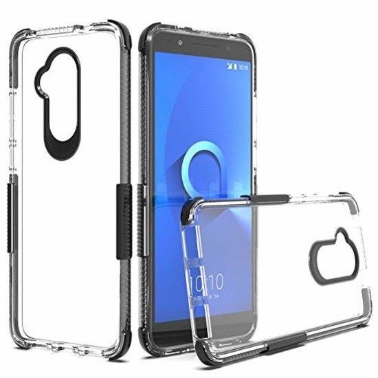 Alcatel 7 Case, 6062z 6062w Crystal Clear Double Color TPU Case Shock cover