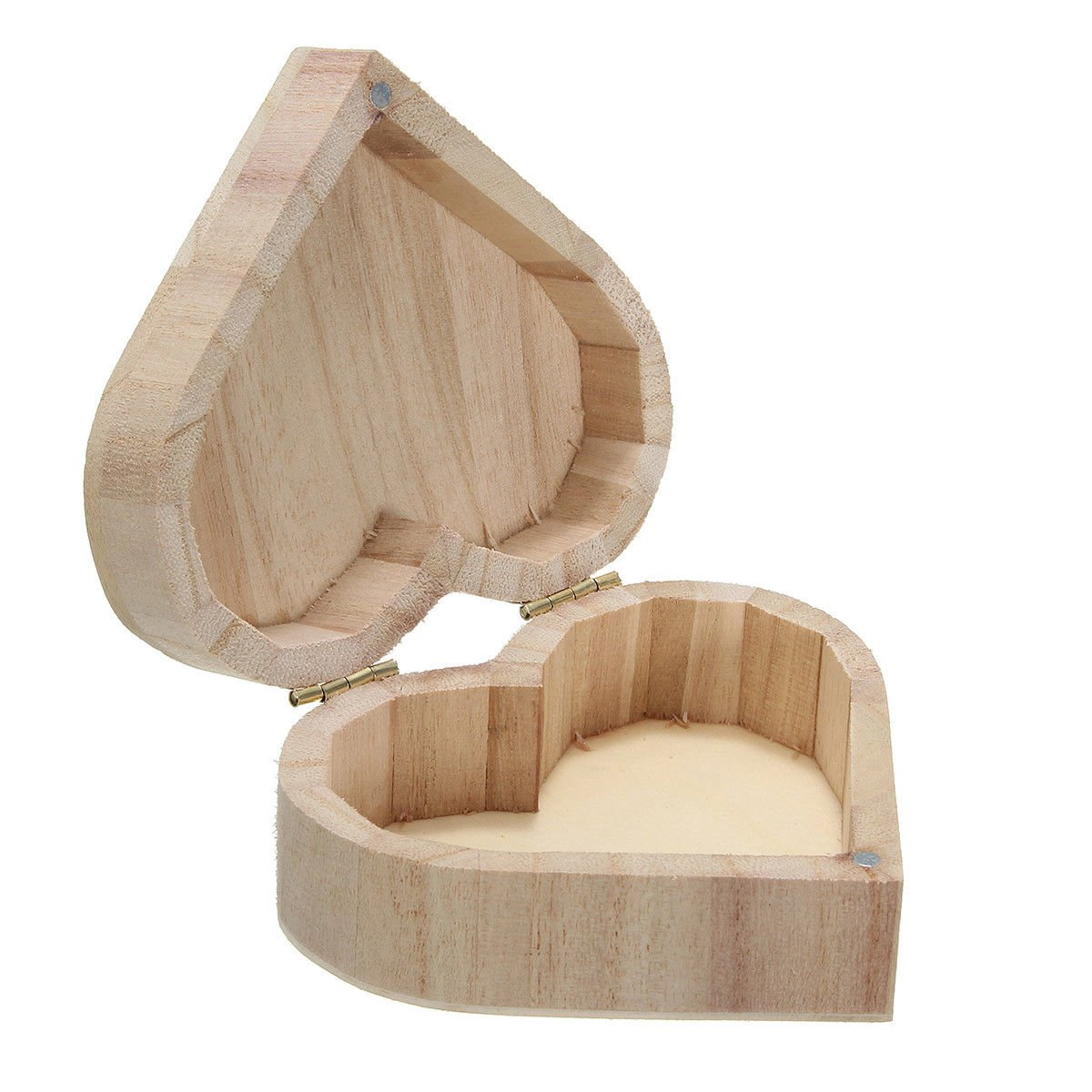Heart Shaped Storage Handicraft Jewelry Wooden Boxes Clippers Case DIY Gift
