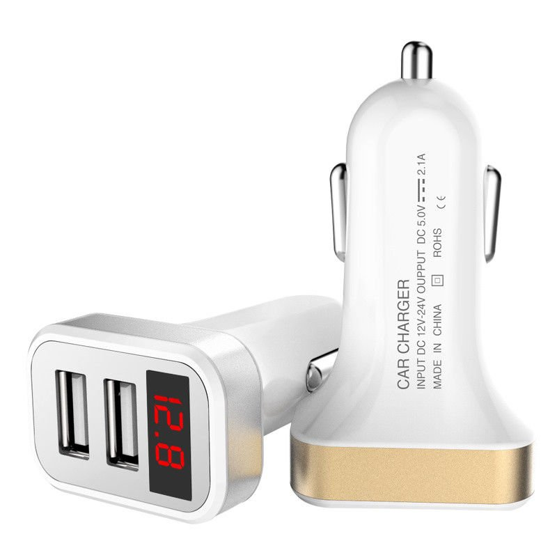 2.1A Dual USB Ports Smart Current LED Display Car Charger FOR CELL PHONE TABLET
