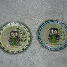 2 Vintage Rare AOE Sorority Brass / Enamel Owl Wall Plates