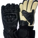 Winter leather motorbike racing gloves with fibre knuckle