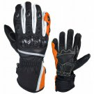NEW CRAWFORD BLACK AND ORANG PRO MOTORBIKE RACING MEN WATER PROOF GLOVES WITH KNUCKLE PROTECTION