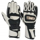 NEW CRAWFORD WHITE AND BLACK PRO MOTORBIKE RACING MEN WATER PROOF GLOVES WITH KNUCKLE PROTECTION