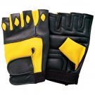New Crawford leather  weight lifting Gym training long wrist wrap yellow with black Men Gloves