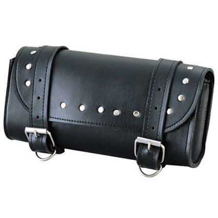 Crawford Classical Black Fashion Style Motorcycle Leather Saddle Bag ,Tool and SISS Bag
