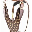 Real Leather Brown Dog Harness Adjustable Strap for  Walking  No Pull Pet Dog Harness