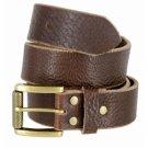Brown  Full Grain Men Leather Dress Belt Antique Brass Pin Buckle Waist Strap Belts
