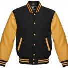XS size Golden And Black Letterman/Baseball/Club/High School/Custom Made Varsity Jacket