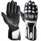 L Black And White Full Finger Motor Bike Racing Motor biker Leather Gloves With Eva Foam Protection