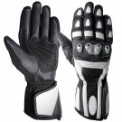 S Black White Full Finger Motor Bike Racing Motor biker Leather Gloves With Eva Foam Protection