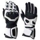 L Black White Motorbike Racing Motorbiker Riding MOTO Armor Leather Gloves With EVA Foam  Protection