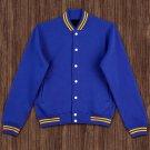 L size Blue Wool Letterman/Baseball/Club/High School/Custom Made Varsity Jacket