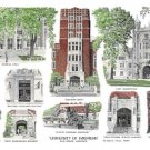 University of Michigan - Hand Colored - Ann Arbor, Michigan