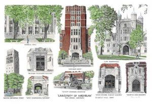 University of Michigan - Hand Colored - Ann Arbor, Michigan