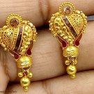 20K  GOLD ANTIQUE TRIBAL HANDMADE EARRING JEWELRY BEAUTIFUL PAIR EARRING INDIA
