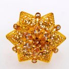 22K 22CT SOLID GOLD FLOWER STONE WOMEN RING ADJUSTABLE BAND VALENTIN DAY GIFT