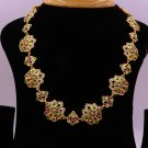 22 K YELLOW GOLD HANDMADE PEACOCK ENAMEL CUBIC ZIRCON STONE AWESOME NECKLACE