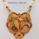 20K GOLD PENDANT NECKLACE HANDMADE JEWELRY TRADITIONAL DESIGN COLOR ENAMEL