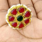 HANDMADE 22 K YELLOW GOLD KUNDAN RING WEDDING NEW ADJUSTABLE FINGER RING INDIAN