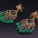 22 K YELLOW GOLD RUBY EMERALD PEARL STONE EARRING STUD DANGLING STYLE JEWELRY