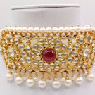 AUTHENTIC 22K YELLOW GOLD CHOKER NECKLACE PEARL BEADS & FINE KUNDAN TRADITIONAL