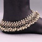 VINTAGE ANTIQUE SOLID SILVER OLD ANKLET FOOT BRACELET TRIBAL JEWELRY INDIA ank19