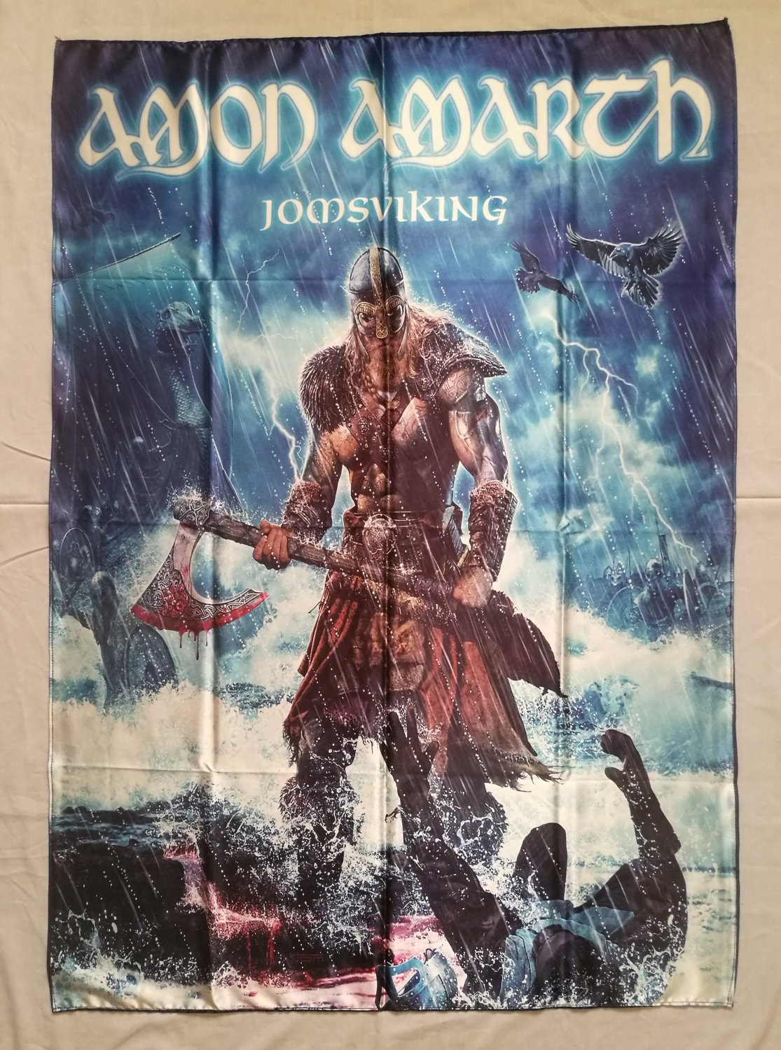 amon amarth jomsviking flag heavy thrash metal cloth poster. Black Bedroom Furniture Sets. Home Design Ideas