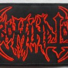 ABOMINATOR - Red Logo EMBROIDERED PATCH BLACK DEATH THRASH HEAVY METAL