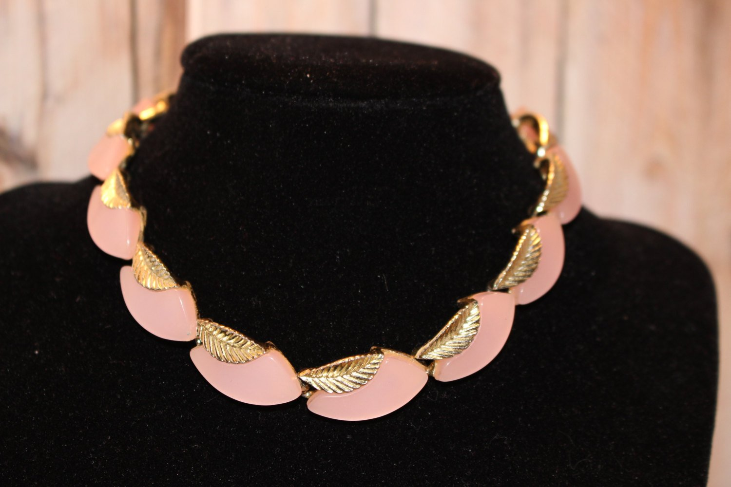 Vintage Thermoset Pink Lucite and Silver Tone Leaf Necklace - Moonglow - 1950's