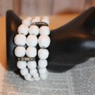 White Milk Glass Coil Wrap Vintage Bracelet 3 strands of graduated bead