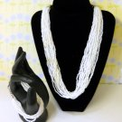 White Glass Seed Bead Vintage Bracelet and Necklace Set - Fine Fashion - Jewelry