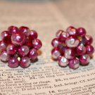 Vintage Raspberry Cluster of Glass Beads Clip On Earrings made in Japan