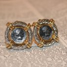 Erwin Pearl Vintage Clipon Earrings Gold and Silvertone Spanish Coin