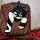 Large Wood Sculptured Black and White Cat Pin Vintage Cat Brooch