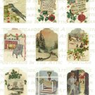 Digital Christmas Gift Tags Set 1 - 9 Old Fashioned Holiday Images - PRINTABLE DOWNLOAD