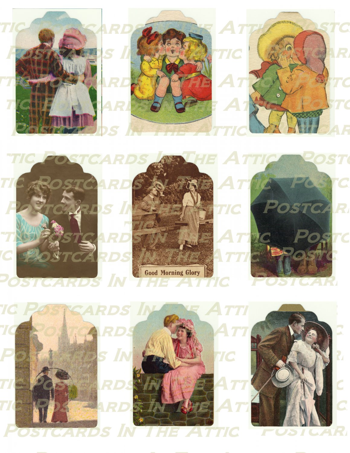 Romantic Christmas Gift Tags 9 Old Fashioned Couples Set 1 - PRINTABLE DOWNLOAD
