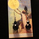 Vintage Black Faceted Glass Drop Earrings from about the 1960's