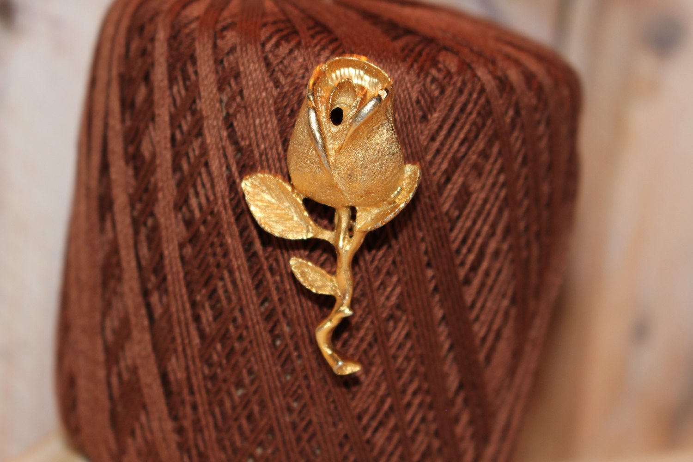 Large Brushed Gold Rosebud Vintage Brooch / Vintage Pin Signed DFA Dubarry Fifth