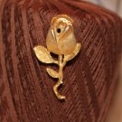 Large Brushed Gold Rosebud Vintage Brooch / Vintage Pin Signed DFA Dubarry Fifth