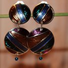 Multi Colored Enamel Clip On Vintage Earrings in Silver-tone
