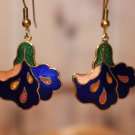 Royal Blue Orchid Floral Vintage Enamel Dangle Earrings