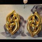 Goldtone Knot Screw Back Earrings Vintage Napier large scroll