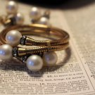 Vintage Coiled Mesh Bracelet and Clip-on Earring Set in Haskell Style Faux Pearl