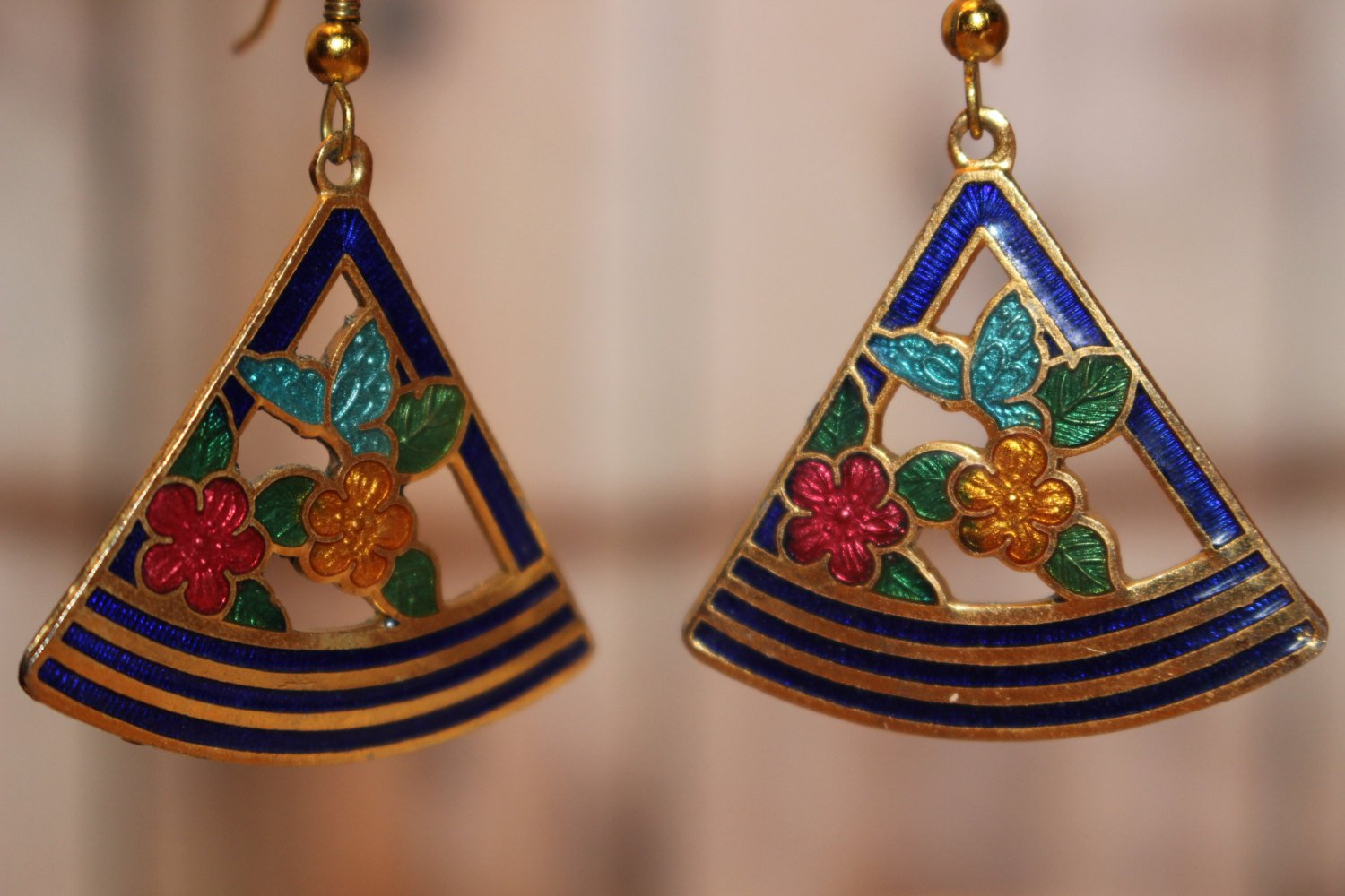 Dark Blue Triangle Shaped Vintage Enamel Dangle Earrings Red and Yellow Flowers