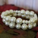 Vintage Glass Pearl Bracelet 1930's style Large to Small Graduated Pearls Double