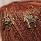 African Zebra or Horse Vintage Goldtone Dangle Earrings 1980's