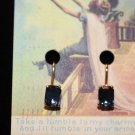 Brilliant Blue Stone Embedded in 14K HGE Lind Gold Vintage Clipon Earrings