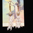 Vintage Freshwater Pearl Dangle Earrings multiple strands pierced